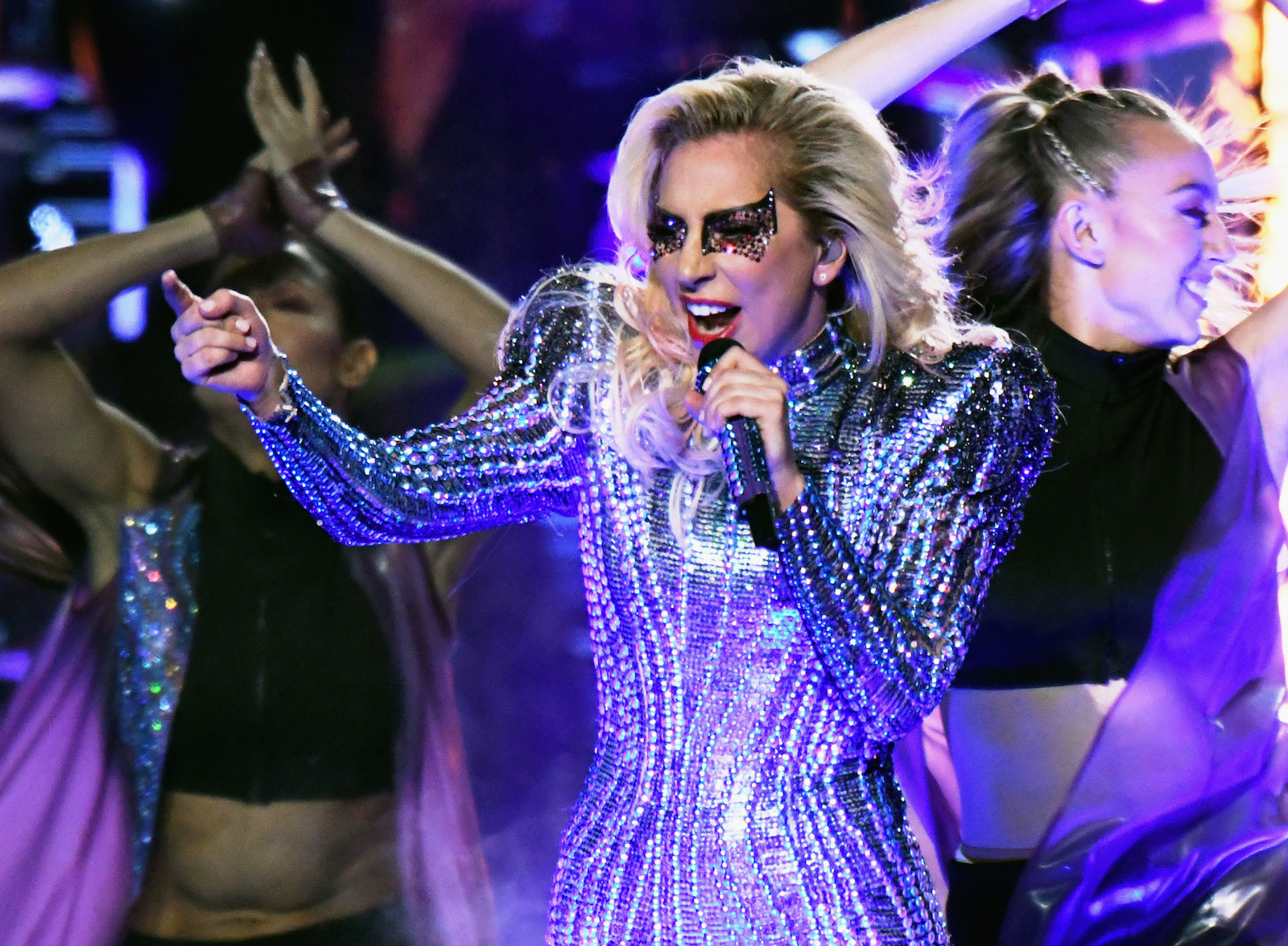 HOUSTON, TX - FEBRUARY 05:  Musician Lady Gaga performs onstage during the Pepsi Zero Sugar Super Bowl LI Halftime Show at NRG Stadium on February 5, 2017 in Houston, Texas.  (Photo by Larry Busacca/Getty Images)